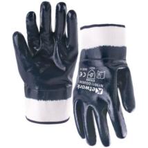 KET GGU030 (9041) Csuklóig mártott kék NITRIL kesztyű merev mandzsetta 10-es