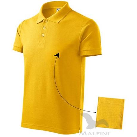 ADLER 212 Cotton pique rövid ujjú galléros férfi póló sárga S-2XL