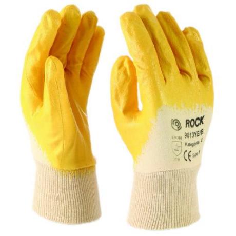 MO 9013YE/B Varott tenyérmártott sárga NITRIL kesztyű 7-10-ig