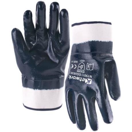 KET GGU030 Csuklóig mártott kék NITRIL kesztyű merev mandzsetta 10-es