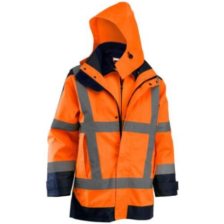 MO ROCK Jól-láthatósági 4 az 1-ben téli kabát kivehető softshell béléssel narancs S-5XL-ig