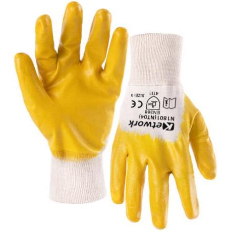KET NT04 - N1801 (9013YE/B) Varott tenyérmártott sárga NITRIL kesztyű 7-10-ig